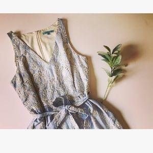 Antonio Melani Blue & White Embroidered Dress